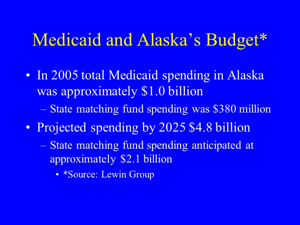 Medicaid and Alaska's Budget* In 2005 total Medicaid spending in Alaska was approximately $1.0 billion –State matching fund spending was $380 million Projected spending by 2025 $4.8 billion –State matching fund spending anticipated at approximately $2.1 billion *Source: Lewin Group