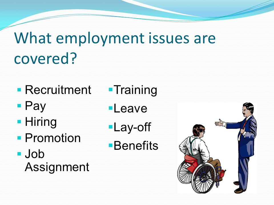What employment issues are covered?  Recruitment  Pay  Hiring  Promotion  Job Assignment  Training  Leave  Lay-off  Benefits