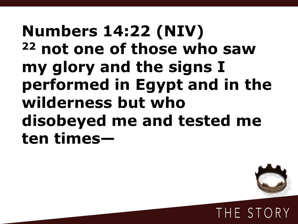 Numbers 14:22 (NIV) 22 not one of those who saw my glory and the signs I performed in Egypt and in the wilderness but who disobeyed me and tested me ten times—