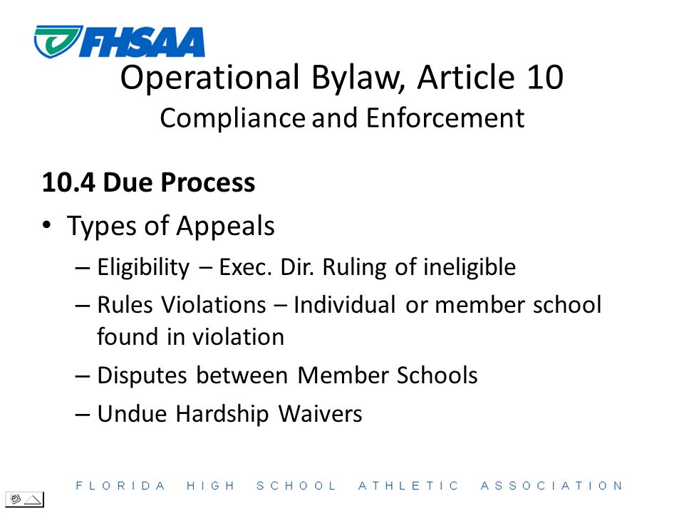Operational Bylaw, Article 10 Compliance and Enforcement 10.4 Due Process Types of Appeals – Eligibility – Exec.