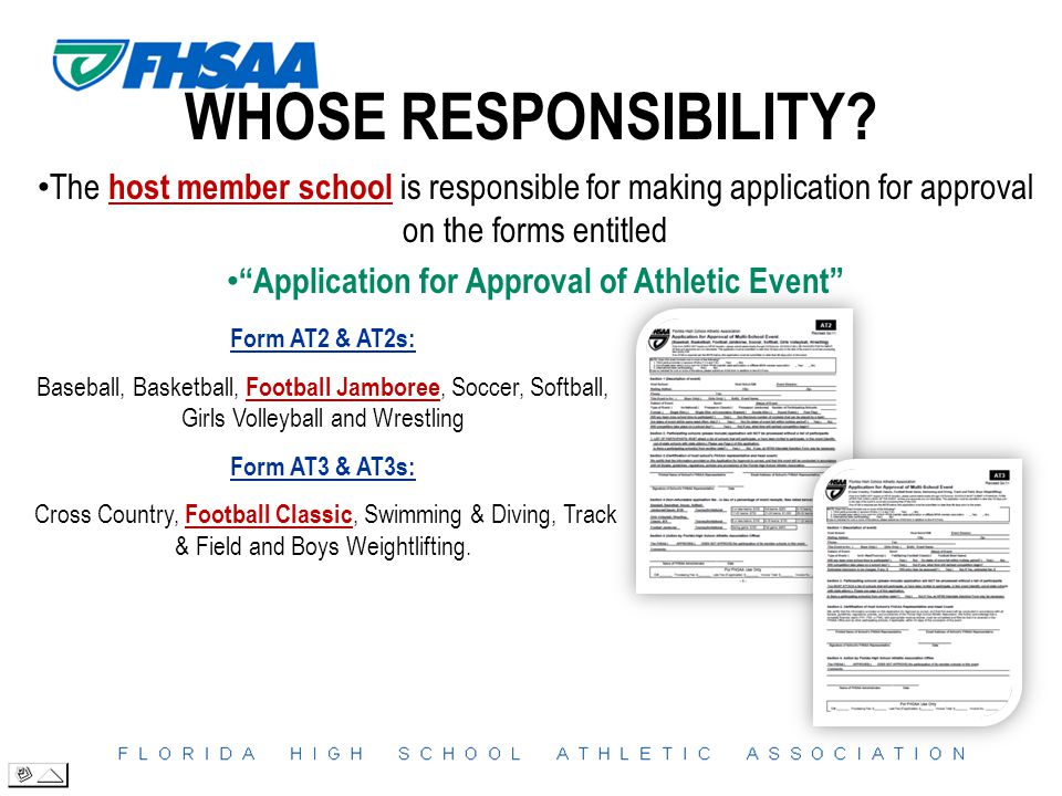 """WHOSE RESPONSIBILITY? The host member school is responsible for making application for approval on the forms entitled """"Application for Approval of Ath"""