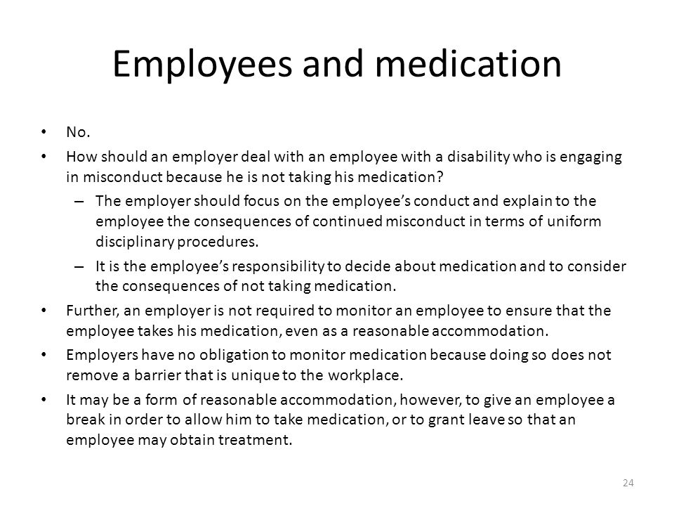 Employees and medication No.