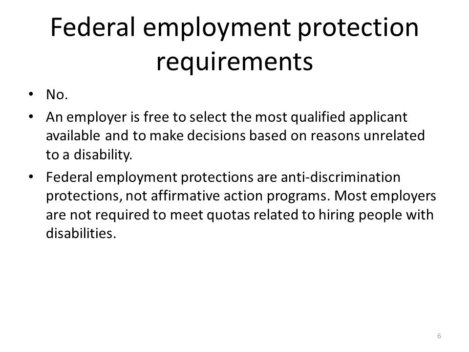 Federal employment protection requirements No.