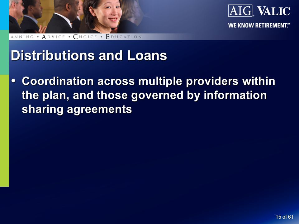 15 of 61 Distributions and Loans  Coordination across multiple providers within the plan, and those governed by information sharing agreements