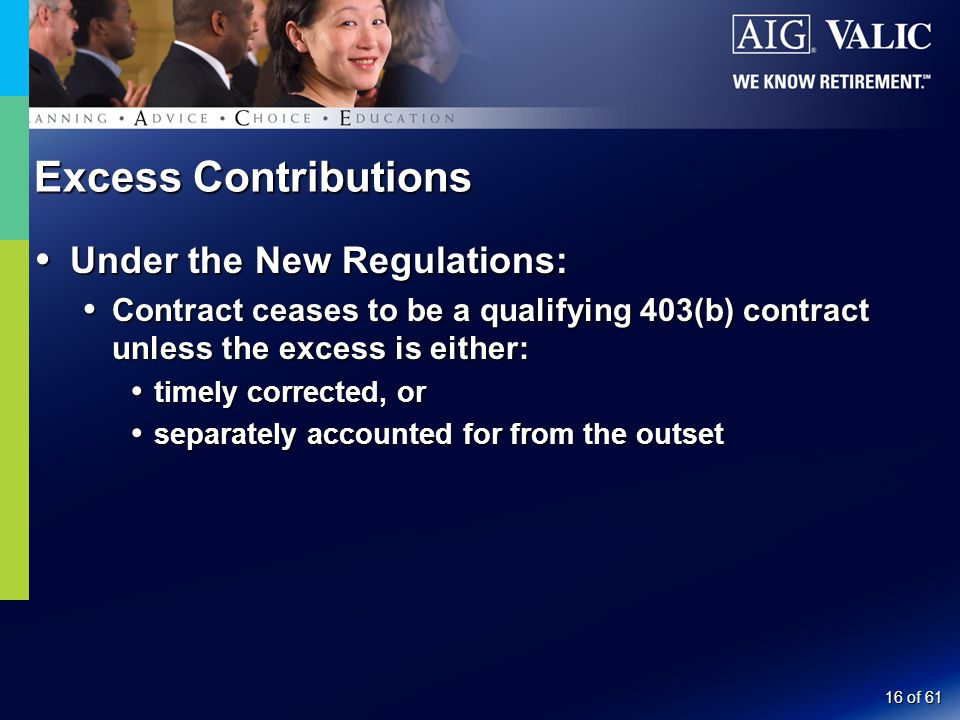 16 of 61 Excess Contributions  Under the New Regulations:  Contract ceases to be a qualifying 403(b) contract unless the excess is either:  timely corrected, or  separately accounted for from the outset