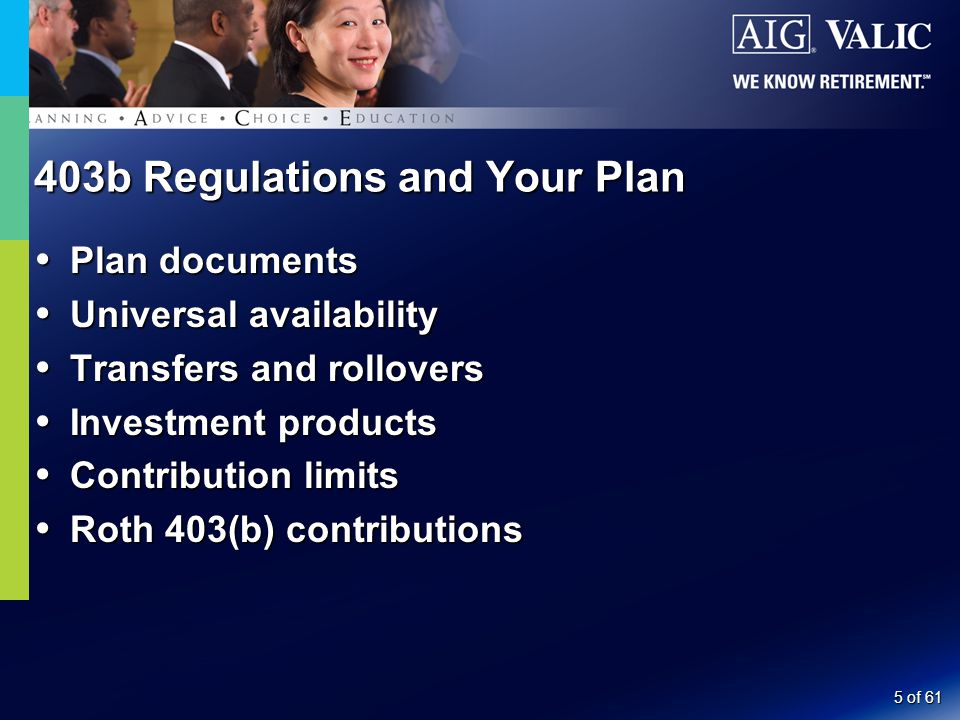 6 of 61 403b Regulations and Your Plan  Hardship withdrawals  Contribution limits  Withdrawal restrictions  Loans  Minimum distributions