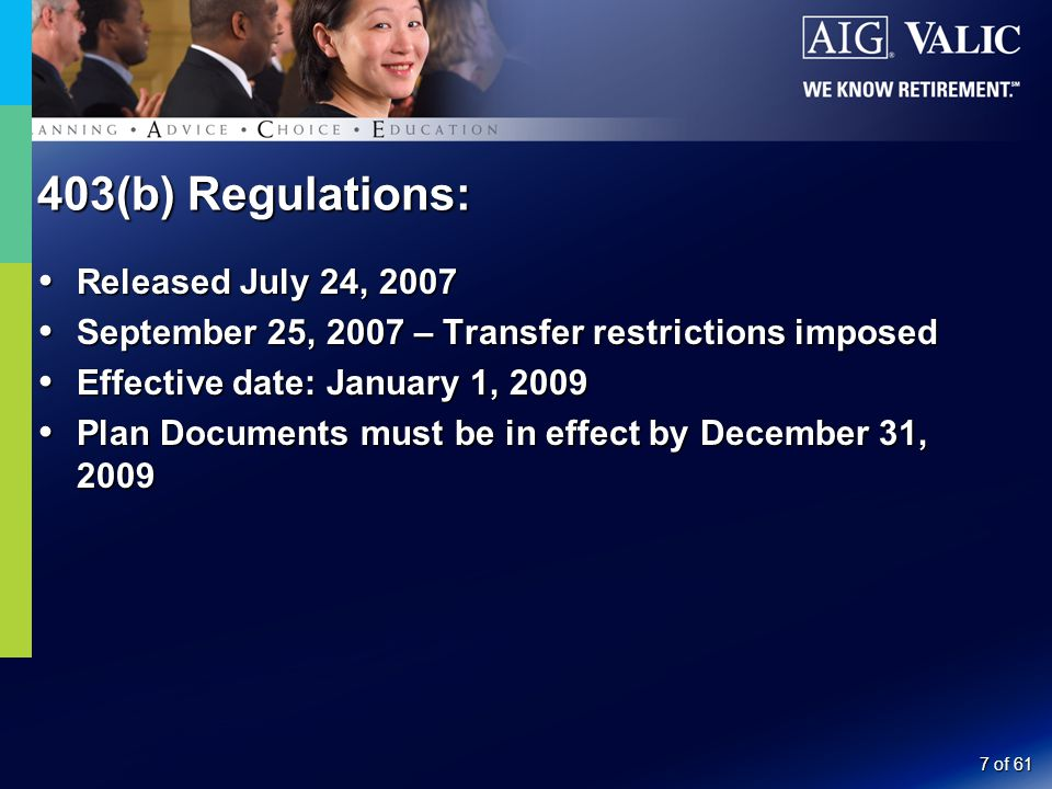 7 of 61  Released July 24, 2007  September 25, 2007 – Transfer restrictions imposed  Effective date: January 1, 2009  Plan Documents must be in effect by December 31, 2009 403(b) Regulations: