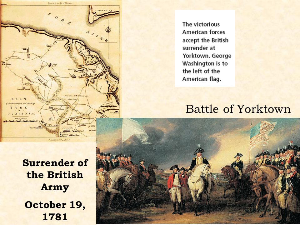 Battle of Yorktown Surrender of the British Army October 19, 1781