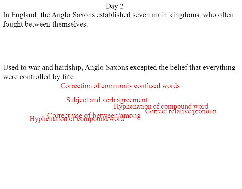 Day 2 Hyphenation of compound word Correct relative pronoun Correct use of between/among Correction of commonly confused words Subject and verb agreement In England, the Anglo Saxons established seven main kingdoms, who often fought between themselves.