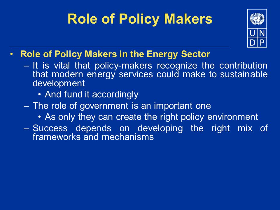 Role of Policy Makers Role of Policy Makers in the Energy Sector –It is vital that policy-makers recognize the contribution that modern energy service