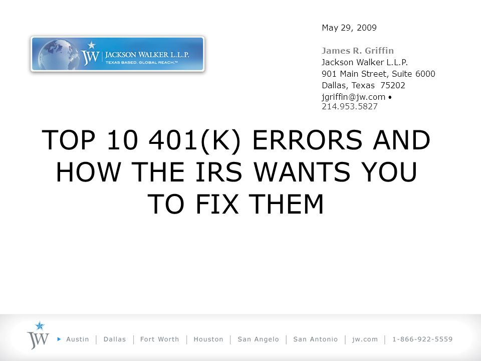 Legal Requirement and Reality of Errors 401(k) Plans must be tax-qualified: –In Form –In Operation