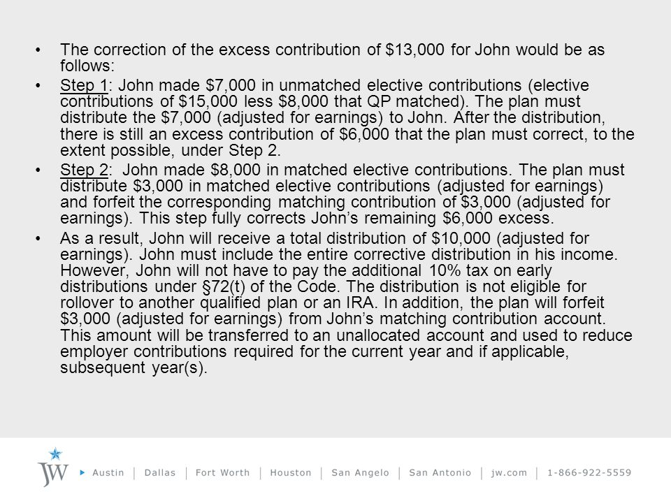 The correction of the excess contribution of $13,000 for John would be as follows: Step 1: John made $7,000 in unmatched elective contributions (elective contributions of $15,000 less $8,000 that QP matched).