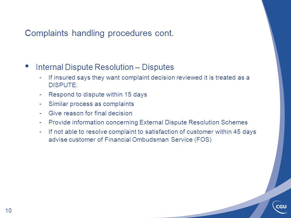 10 Complaints handling procedures cont.