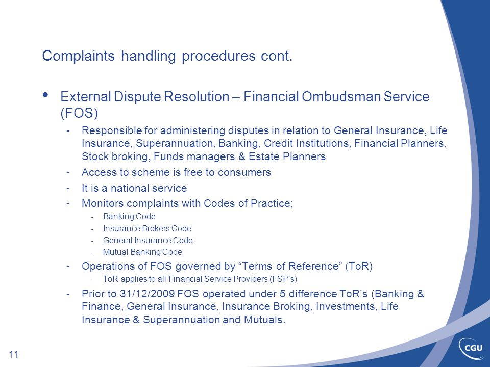 11 Complaints handling procedures cont.