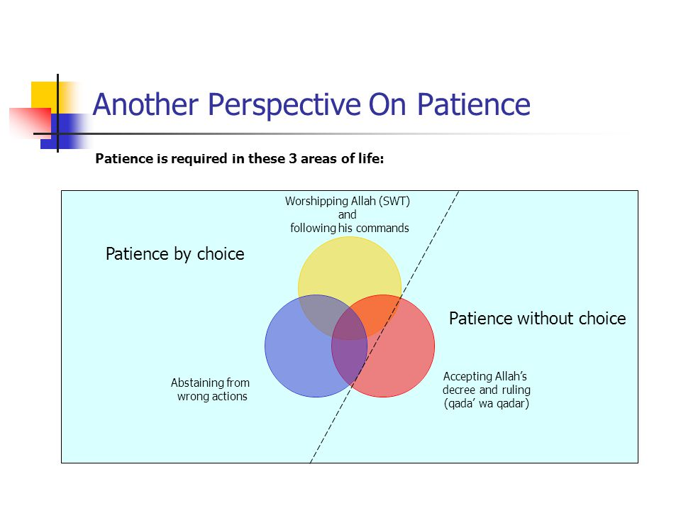 Another Perspective On Patience Patience is required in these 3 areas of life: Patience without choice Patience by choice