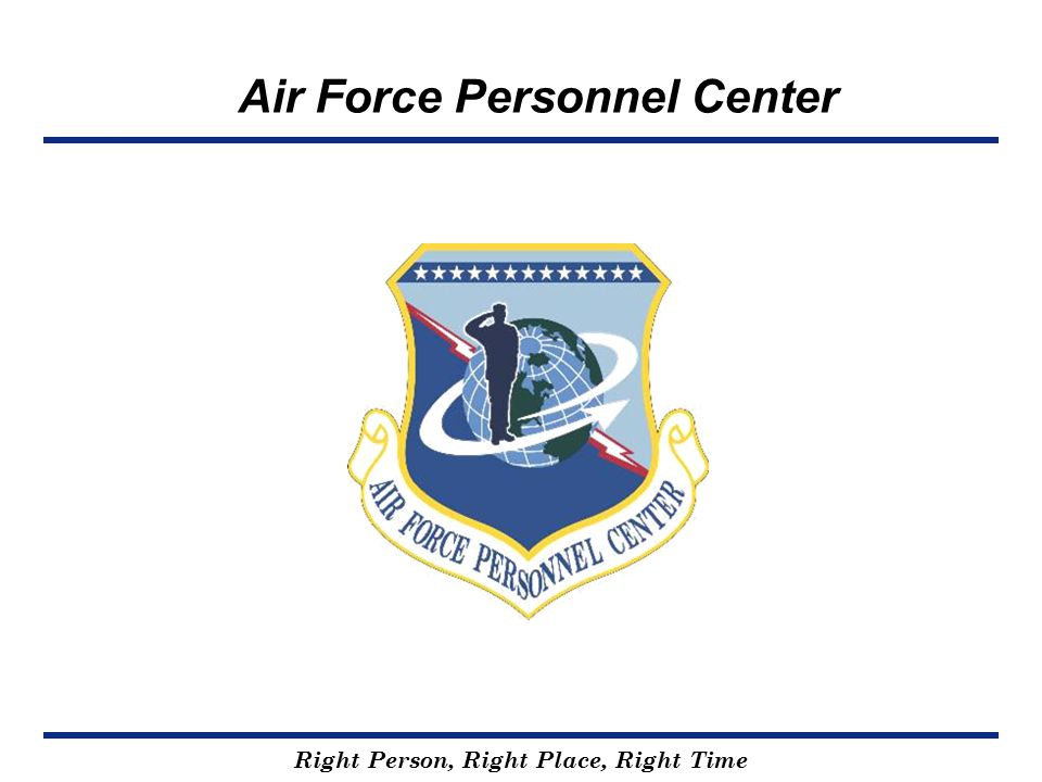 Right Person, Right Place, Right Time Air Force Personnel Center