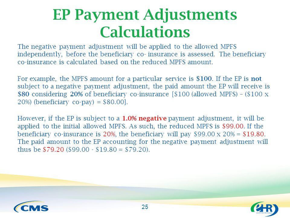 The negative payment adjustment will be applied to the allowed MPFS independently, before the beneficiary co- insurance is assessed.