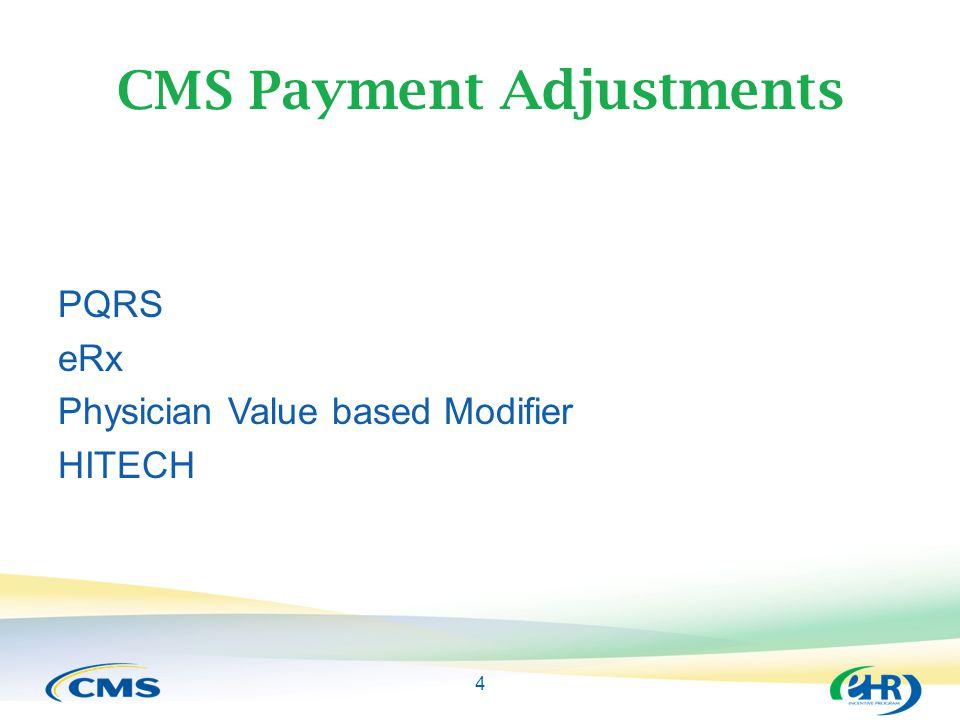 4 CMS Payment Adjustments PQRS eRx Physician Value based Modifier HITECH