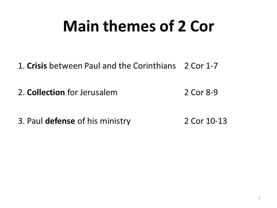Main themes of 2 Cor 1. Crisis between Paul and the Corinthians2 Cor 1-7 2.