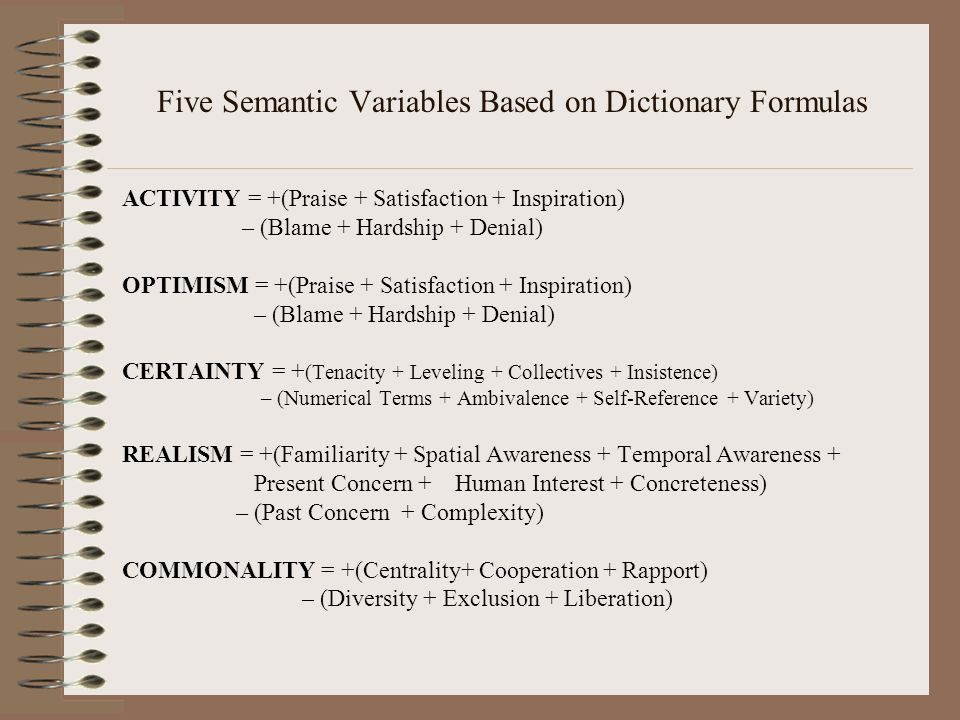 Five Semantic Variables Based on Dictionary Formulas ACTIVITY = +(Praise + Satisfaction + Inspiration) – (Blame + Hardship + Denial) OPTIMISM = +(Praise + Satisfaction + Inspiration) – (Blame + Hardship + Denial) CERTAINTY = + (Tenacity + Leveling + Collectives + Insistence) – (Numerical Terms + Ambivalence + Self-Reference + Variety) REALISM = +(Familiarity + Spatial Awareness + Temporal Awareness + Present Concern + Human Interest + Concreteness) – (Past Concern + Complexity) COMMONALITY = +(Centrality+ Cooperation + Rapport) – (Diversity + Exclusion + Liberation)