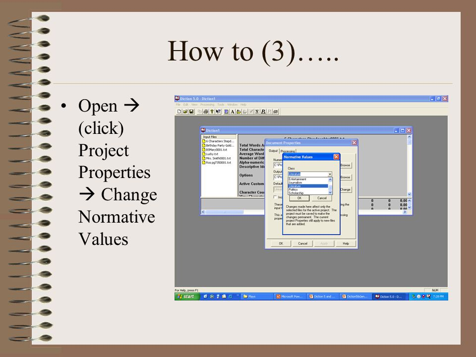 How to (3)….. Open  (click) Project Properties  Change Normative Values