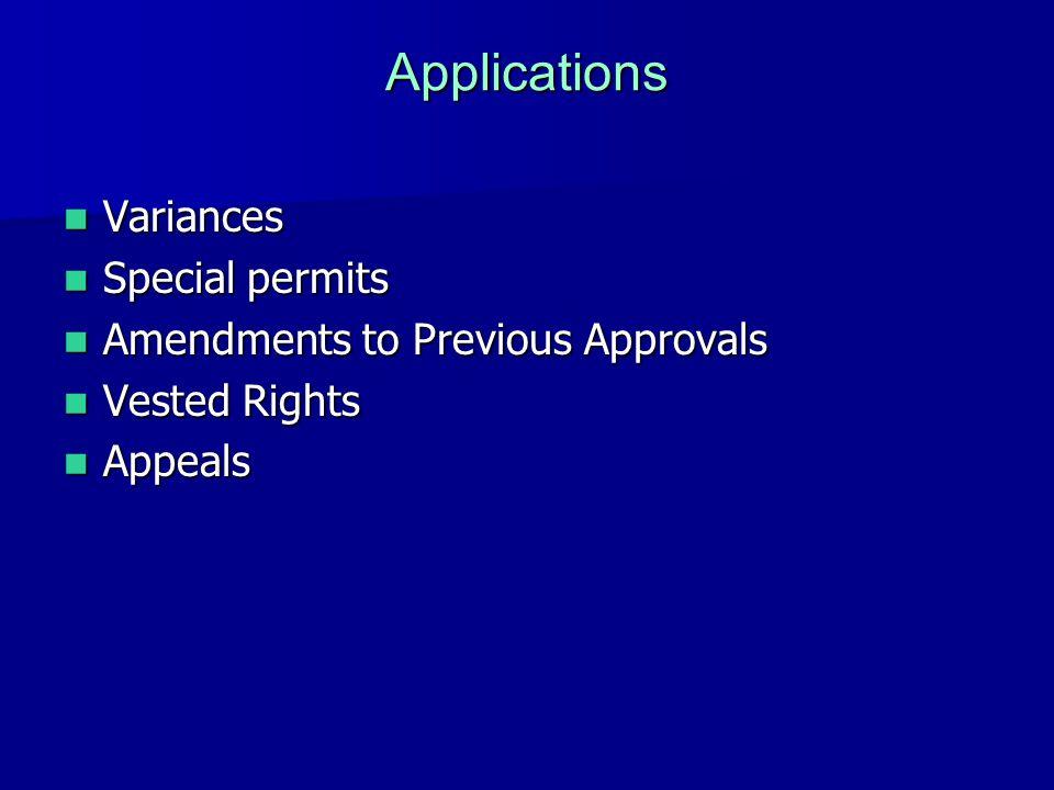 Applications Variances Variances Special permits Special permits Amendments to Previous Approvals Amendments to Previous Approvals Vested Rights Vested Rights Appeals Appeals