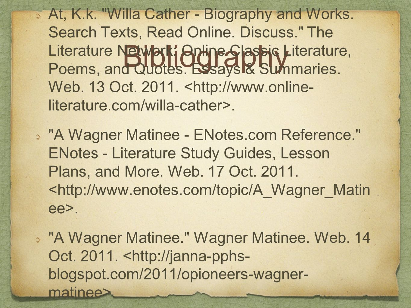 Bibliography At, K.k. Willa Cather - Biography and Works.