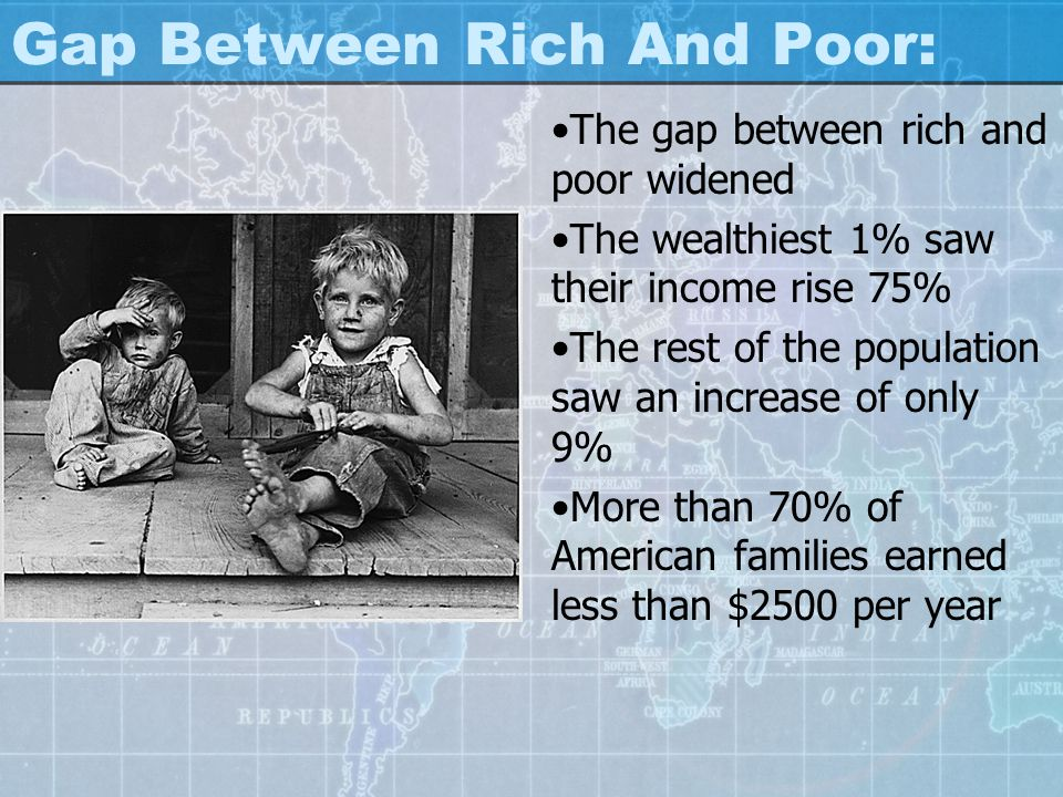 Gap Between Rich And Poor: The gap between rich and poor widened The wealthiest 1% saw their income rise 75% The rest of the population saw an increas