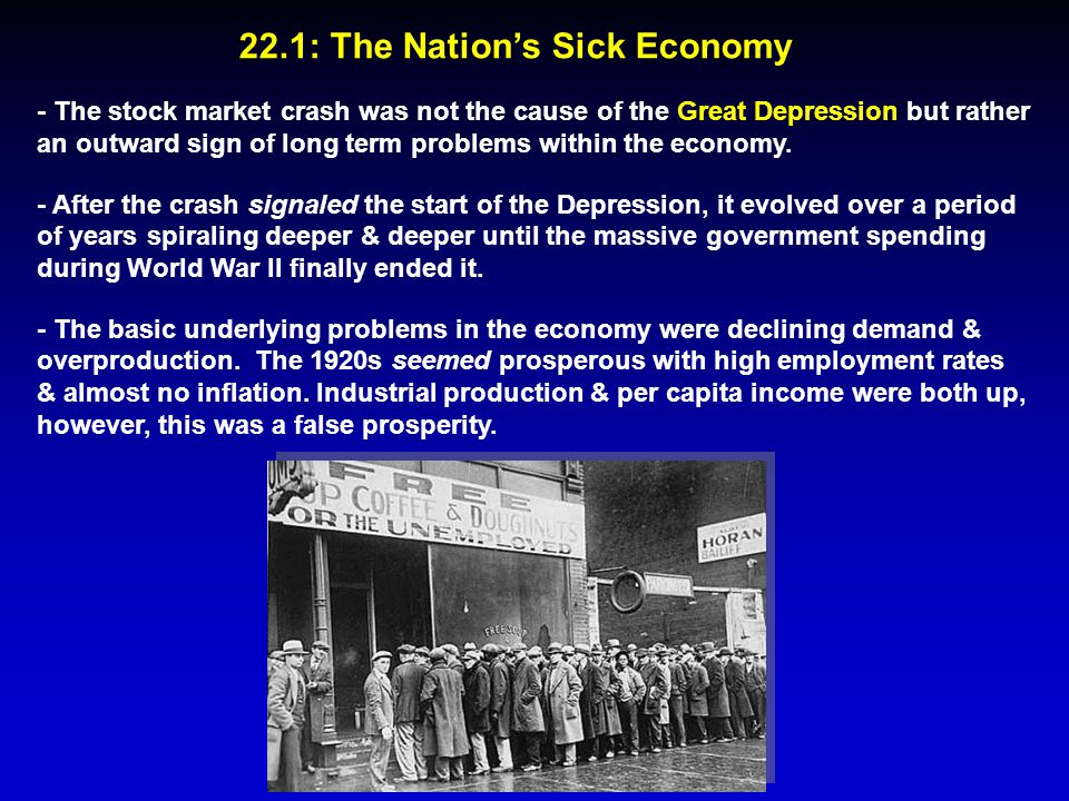 22.1: The Nation's Sick Economy - The stock market crash was not the cause of the Great Depression but rather an outward sign of long term problems wi
