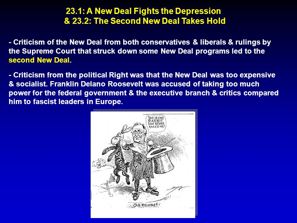 23.1: A New Deal Fights the Depression & 23.2: The Second New Deal Takes Hold - Criticism of the New Deal from both conservatives & liberals & rulings