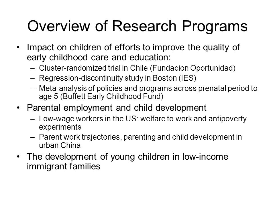 2) Access to Policies and take-up of policies for which children are eligible