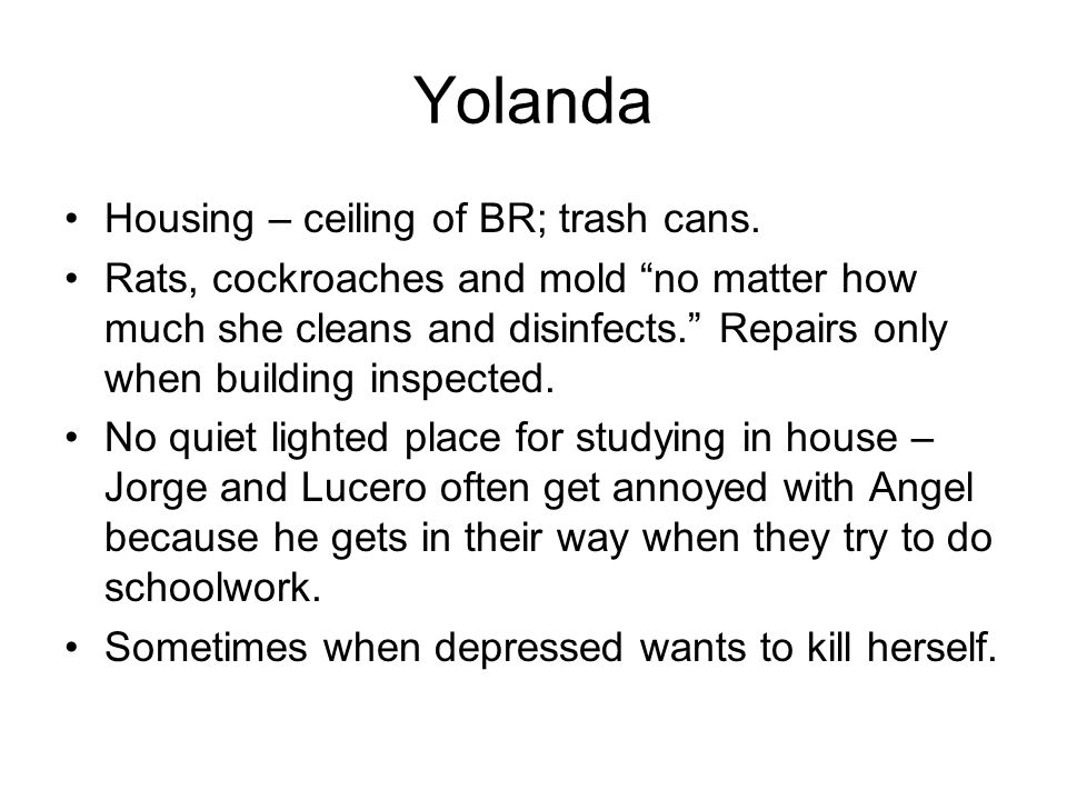 Yolanda Housing – ceiling of BR; trash cans.
