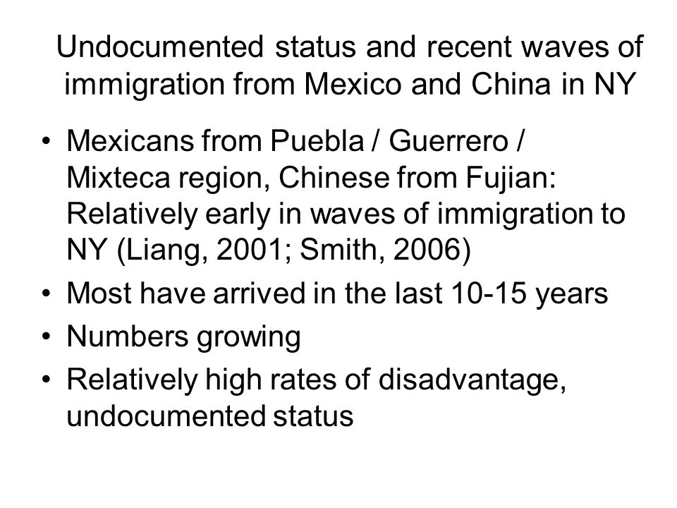 CRCDE Birth Cohort: Likely variation in undocumented status across groups Chinese and Mexicans: Highest proportions undocumented Dominicans: Moderate proportion African Americans: All U.S.-born Today: focus on CH, MX