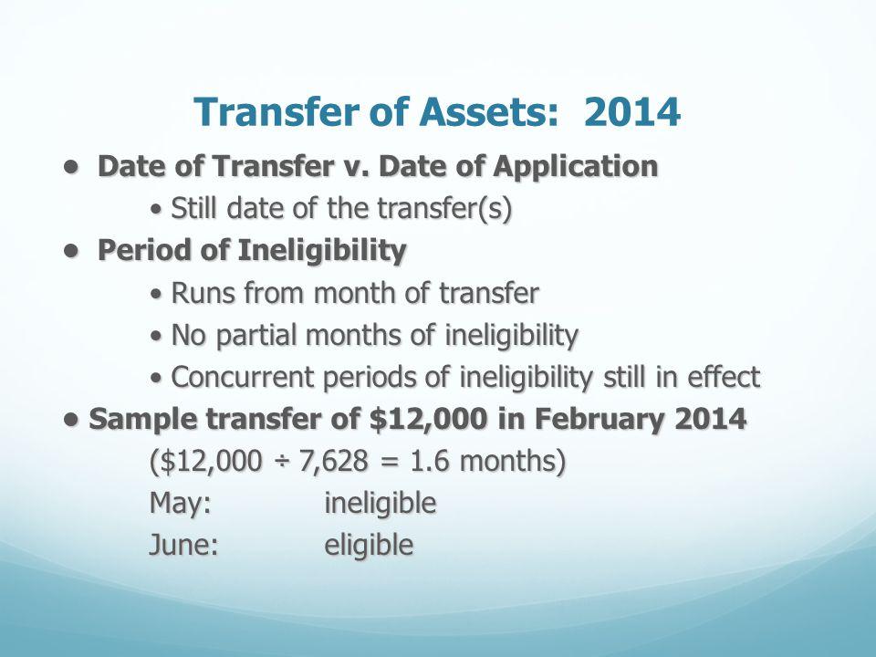 Transfer of Assets: 2014 Date of Transfer v. Date of Application Date of Transfer v. Date of Application Still date of the transfer(s) Still date of t