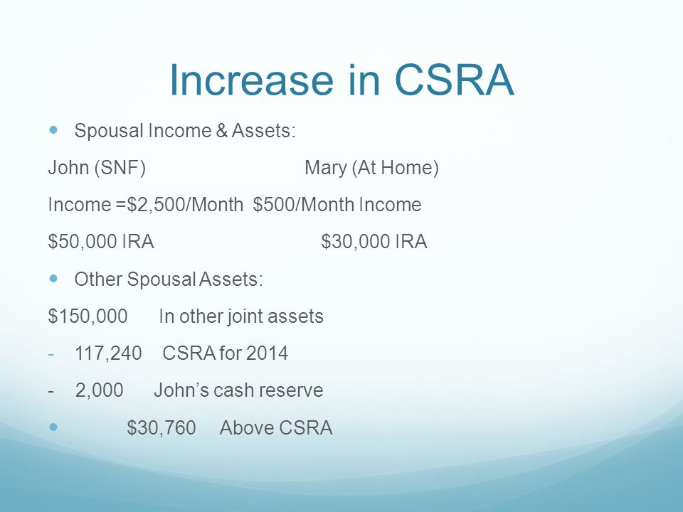 Increase in CSRA Spousal Income & Assets: John (SNF) Mary (At Home) Income =$2,500/Month$500/Month Income $50,000 IRA $30,000 IRA Other Spousal Assets: $150,000 In other joint assets - 117,240 CSRA for 2014 - 2,000 John's cash reserve $30,760 Above CSRA