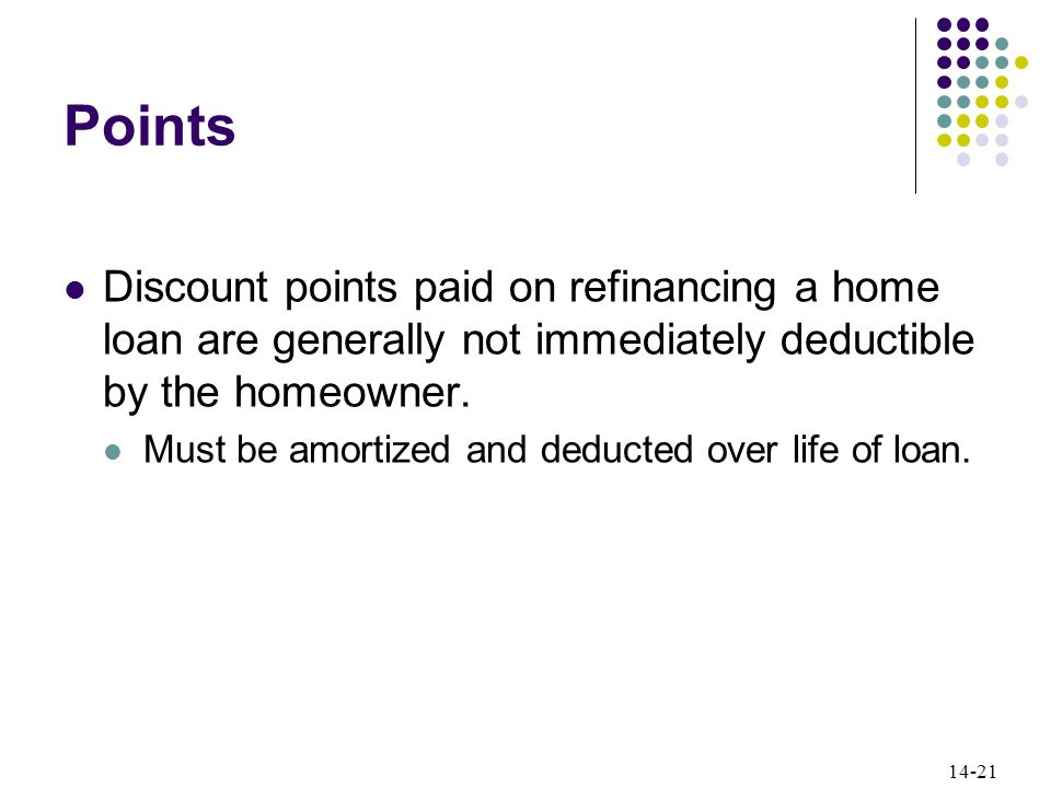 14-21 Points Discount points paid on refinancing a home loan are generally not immediately deductible by the homeowner.