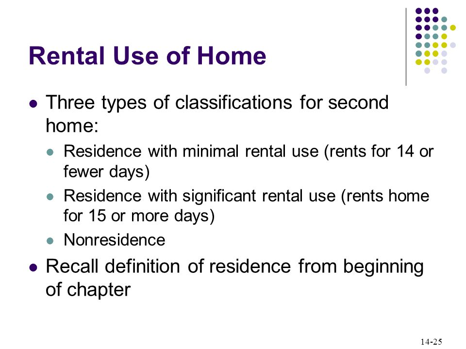 14-25 Rental Use of Home Three types of classifications for second home: Residence with minimal rental use (rents for 14 or fewer days) Residence with significant rental use (rents home for 15 or more days) Nonresidence Recall definition of residence from beginning of chapter