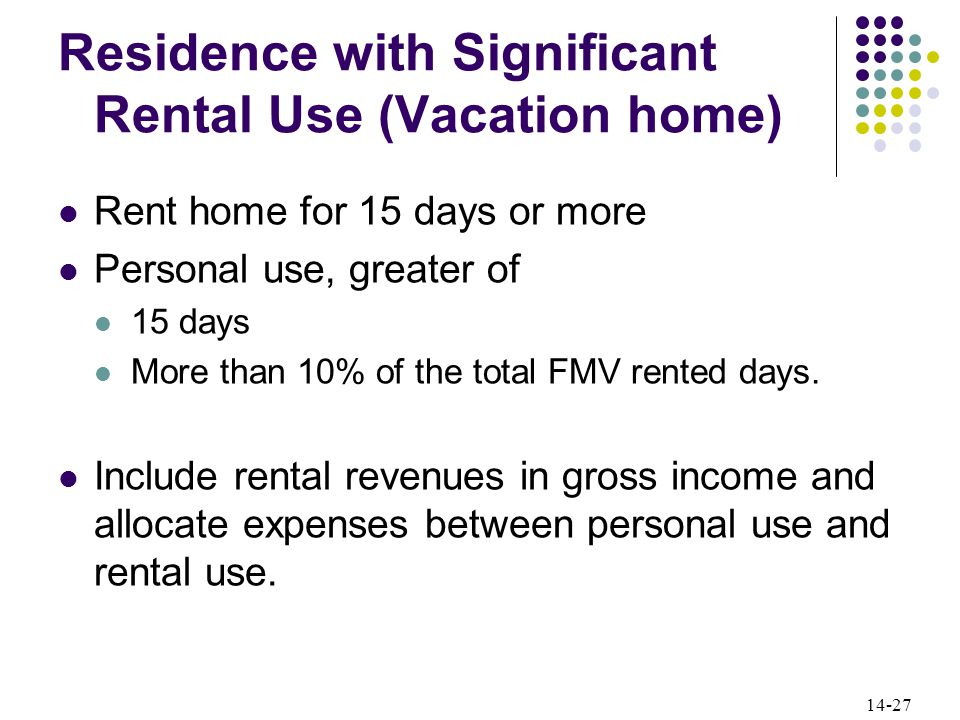 14-27 Residence with Significant Rental Use (Vacation home) Rent home for 15 days or more Personal use, greater of 15 days More than 10% of the total FMV rented days.