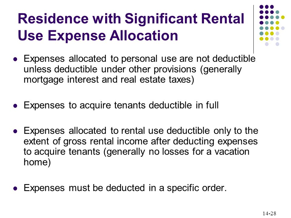 14-28 Residence with Significant Rental Use Expense Allocation Expenses allocated to personal use are not deductible unless deductible under other provisions (generally mortgage interest and real estate taxes) Expenses to acquire tenants deductible in full Expenses allocated to rental use deductible only to the extent of gross rental income after deducting expenses to acquire tenants (generally no losses for a vacation home) Expenses must be deducted in a specific order.