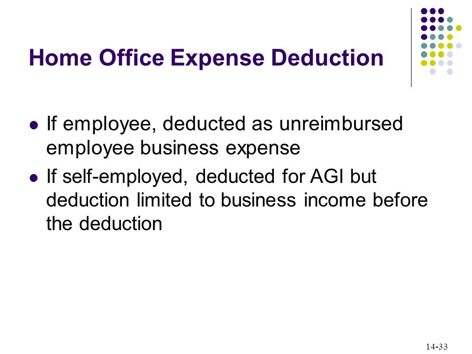 14-33 Home Office Expense Deduction If employee, deducted as unreimbursed employee business expense If self-employed, deducted for AGI but deduction limited to business income before the deduction