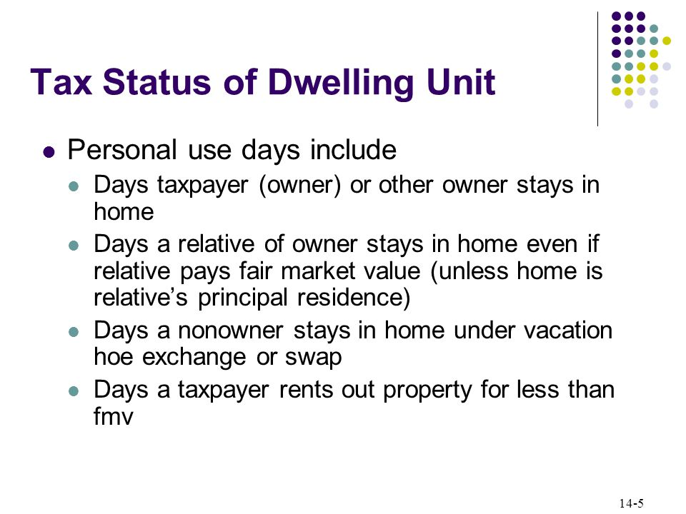 14-5 Tax Status of Dwelling Unit Personal use days include Days taxpayer (owner) or other owner stays in home Days a relative of owner stays in home even if relative pays fair market value (unless home is relative's principal residence) Days a nonowner stays in home under vacation hoe exchange or swap Days a taxpayer rents out property for less than fmv