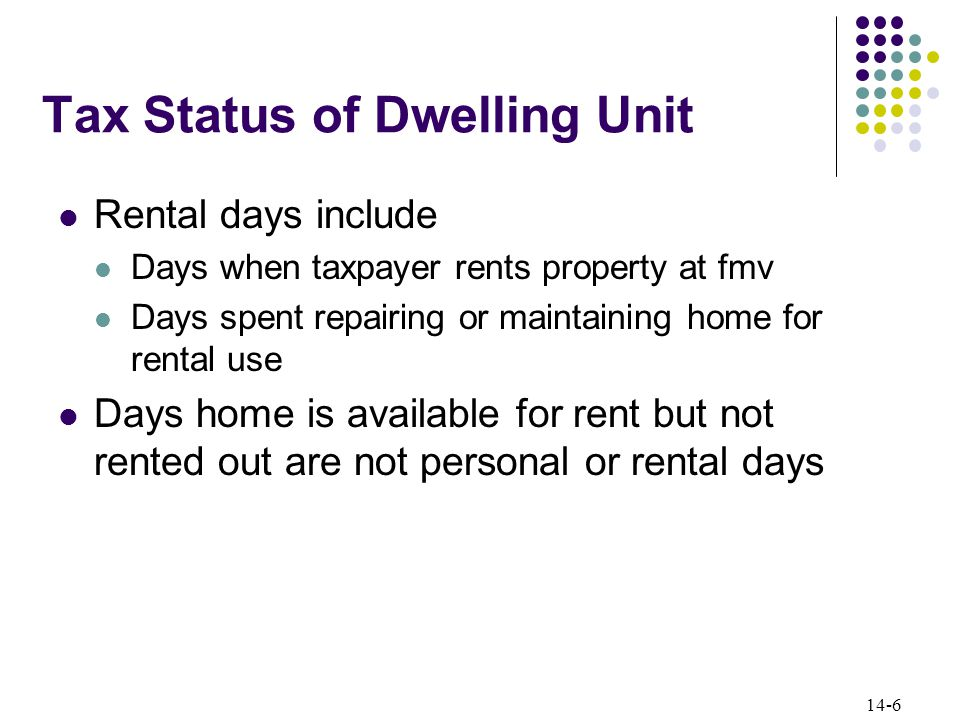 14-6 Tax Status of Dwelling Unit Rental days include Days when taxpayer rents property at fmv Days spent repairing or maintaining home for rental use Days home is available for rent but not rented out are not personal or rental days