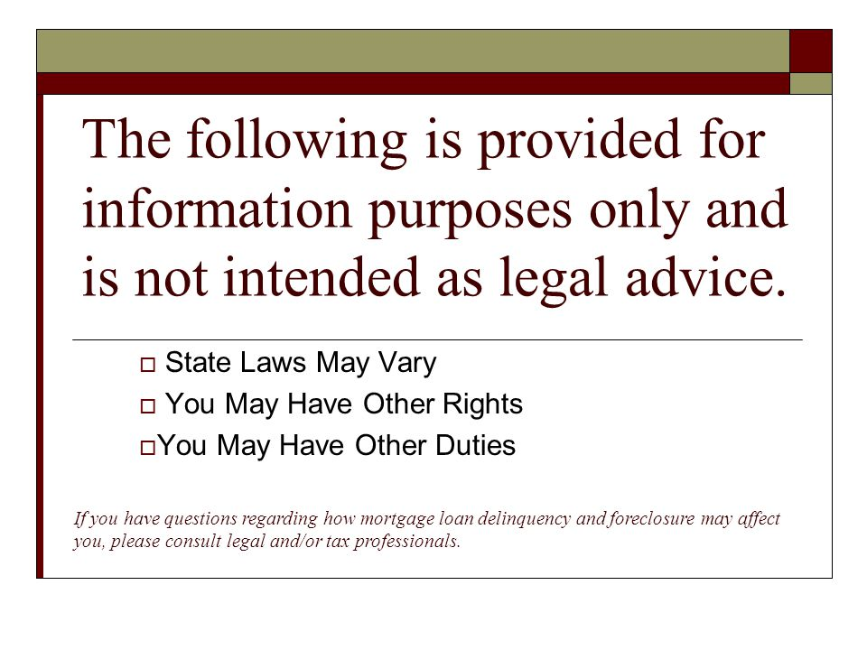 The following is provided for information purposes only and is not intended as legal advice.