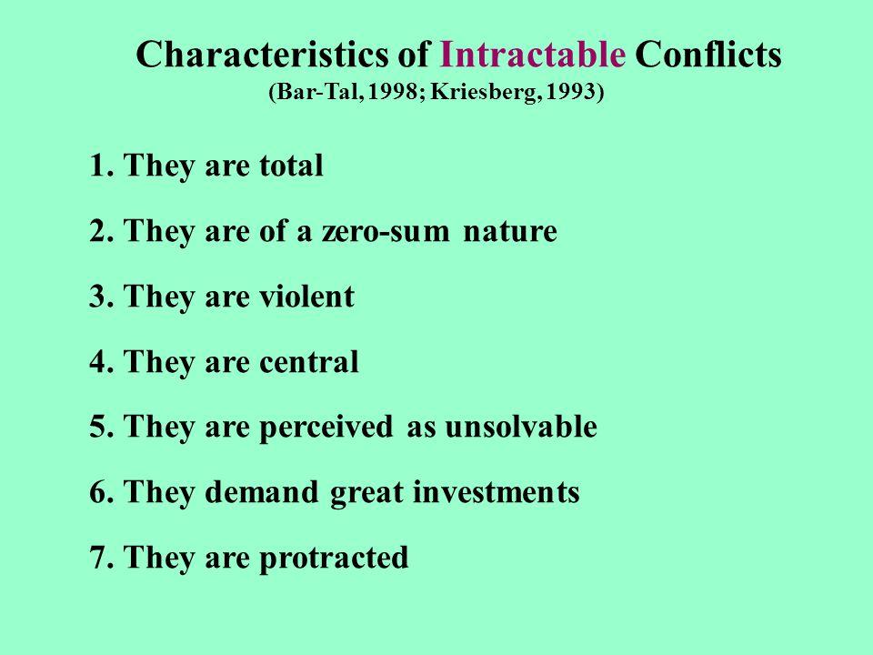 Characteristics of Intractable Conflicts (Bar-Tal, 1998; Kriesberg, 1993) 1.