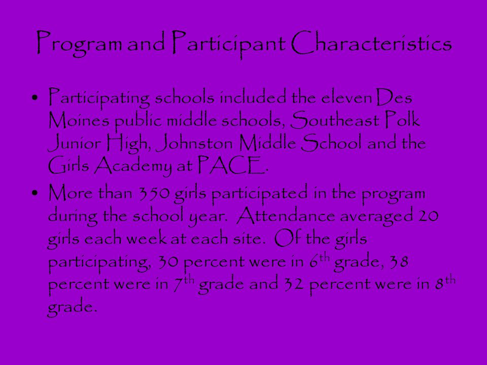 Program and Participant Characteristics Participating schools included the eleven Des Moines public middle schools, Southeast Polk Junior High, Johnst