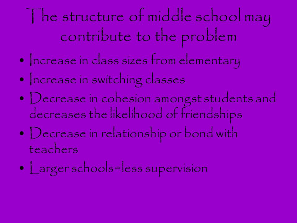 The structure of middle school may contribute to the problem Increase in class sizes from elementary Increase in switching classes Decrease in cohesio