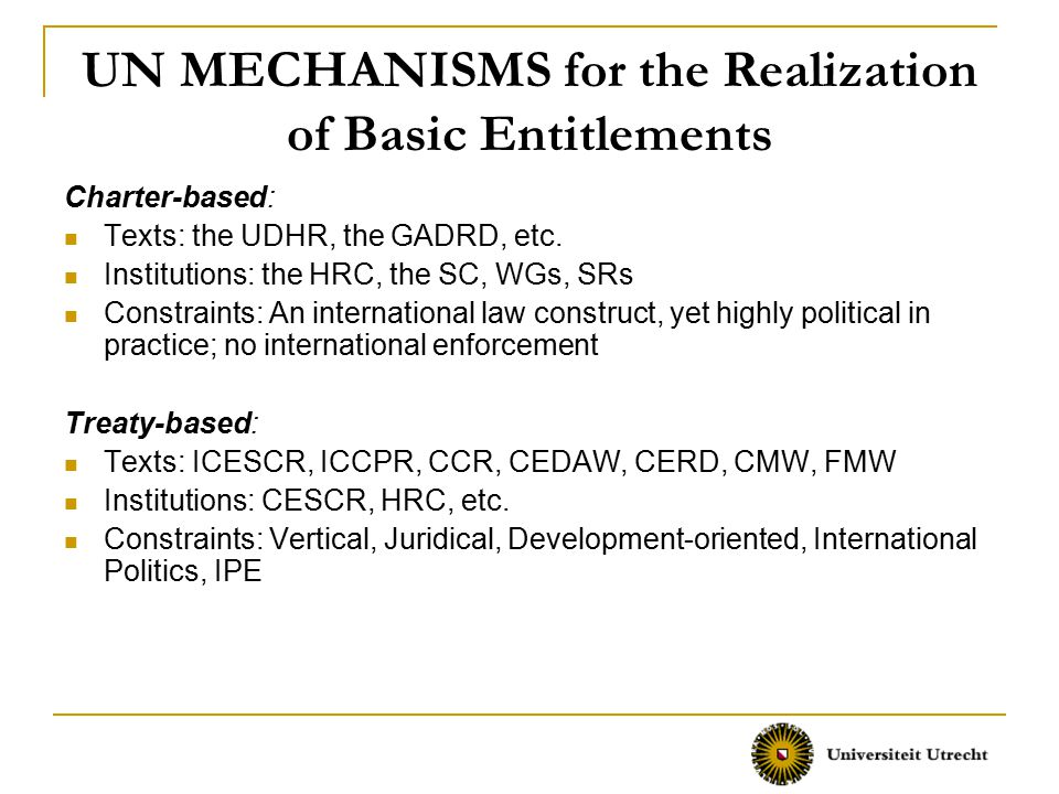 UN MECHANISMS for the Realization of Basic Entitlements Charter-based: Texts: the UDHR, the GADRD, etc.