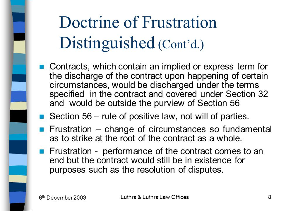 6 th December 2003 Luthra & Luthra Law Offices8 Doctrine of Frustration Distinguished (Cont'd.) Contracts, which contain an implied or express term fo