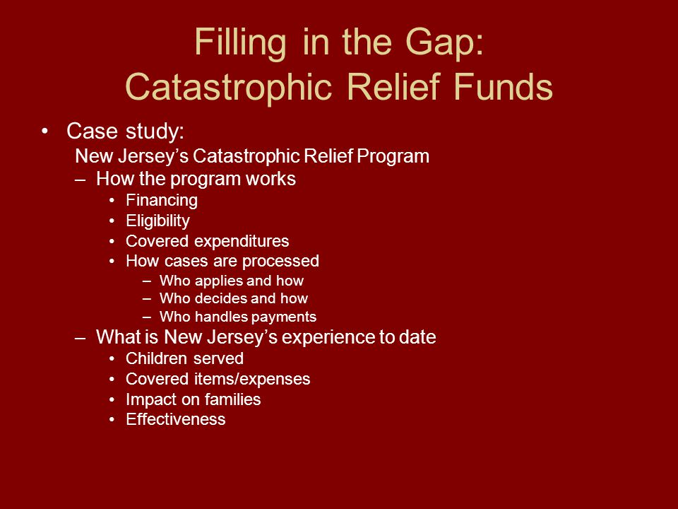 Filling in the Gap: Catastrophic Relief Funds Case study: New Jersey's Catastrophic Relief Program –How the program works Financing Eligibility Covered expenditures How cases are processed –Who applies and how –Who decides and how –Who handles payments –What is New Jersey's experience to date Children served Covered items/expenses Impact on families Effectiveness