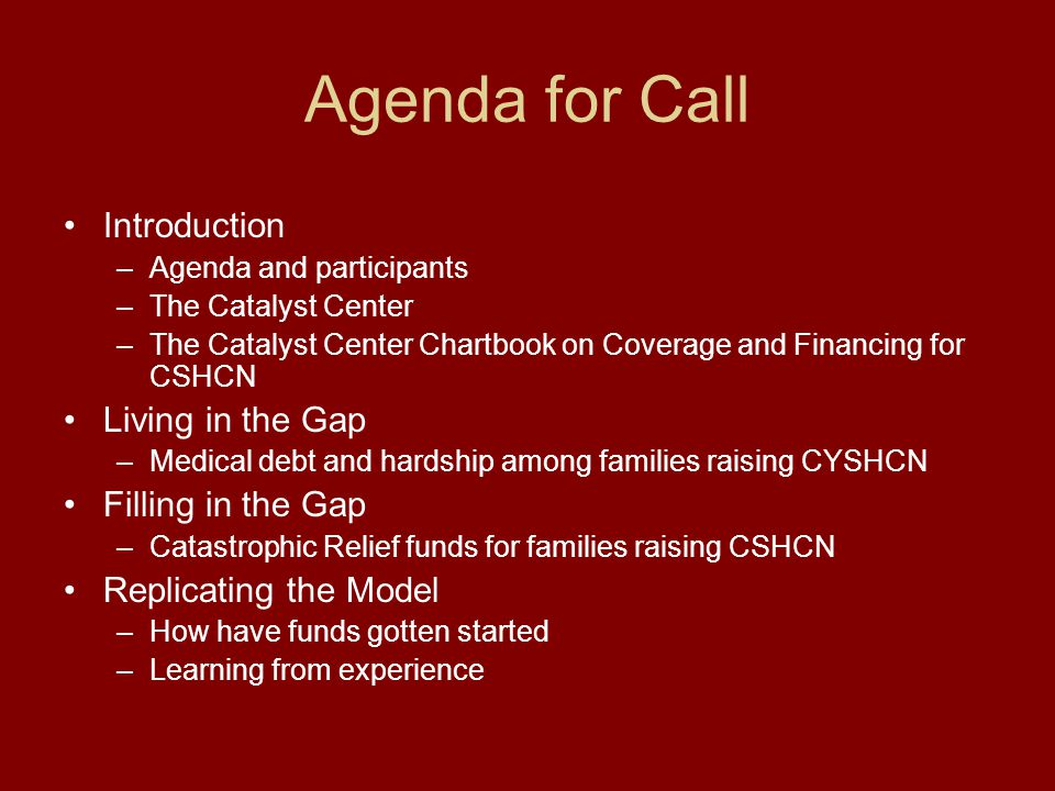 The Catalyst Center Staff Mandate Agenda